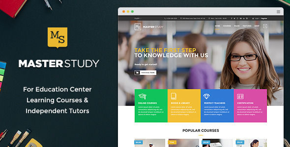 Masterstudy by StylemixThemes is a educational WordPress theme which features parallax elements, support for RTL languages, one page layouts, fully responsive layouts, Google Fonts support, Revolution Slider, WooCommerce integration, Bootstrap framework utilization and can be used for your portfolio.