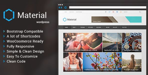 Material by Dankov is a news magazine WordPress theme which features fully responsive layouts, search engine optimization, WooCommerce integration, clean design, Bootstrap framework utilization, magazine style layouts and a grid layout.