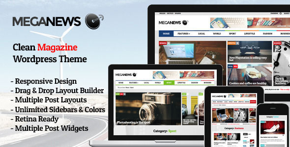 Meganews by Pego is a news magazine WordPress theme which features Retina display support, Mega Menu, fully responsive layouts, search engine optimization, Google Fonts support, Revolution Slider, clean design, can be used for your portfolio, magazine style layouts, is great for your personal site and a grid layout.