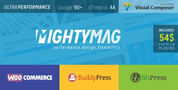 MightyMag by Djwd is a news magazine WordPress theme which features Retina display support, support for RTL languages, Mega Menu, fully responsive layouts, search engine optimization, Google Fonts support, Revolution Slider, WooCommerce integration, clean design, Bootstrap framework utilization, magazine style layouts, a grid layout and minimal design.