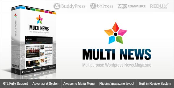 Multinews by Momizat is a news magazine WordPress theme which features Retina display support, support for RTL languages, Mega Menu, fully responsive layouts, search engine optimization, Google Fonts support, Revolution Slider, WooCommerce integration, magazine style layouts and a grid layout.