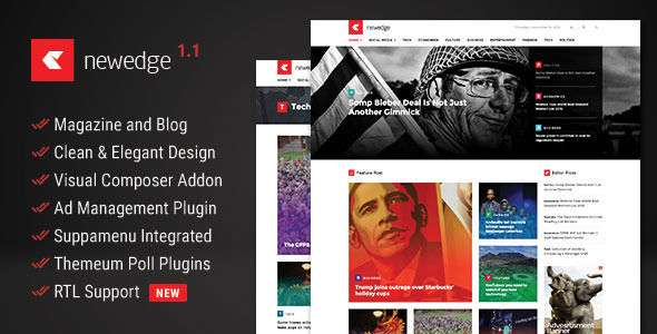 NewEdge by Themeum is a news magazine WordPress theme which features support for RTL languages, Mega Menu, one page layouts, fully responsive layouts, search engine optimization, Google Fonts support, Bootstrap framework utilization and magazine style layouts.