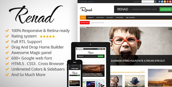 News Renad by Bdaia is a news magazine WordPress theme which features Retina display support, support for RTL languages, Mega Menu, fully responsive layouts, search engine optimization, Google Fonts support, WooCommerce integration, clean design, magazine style layouts, is great for your personal site, a grid layout and minimal design.