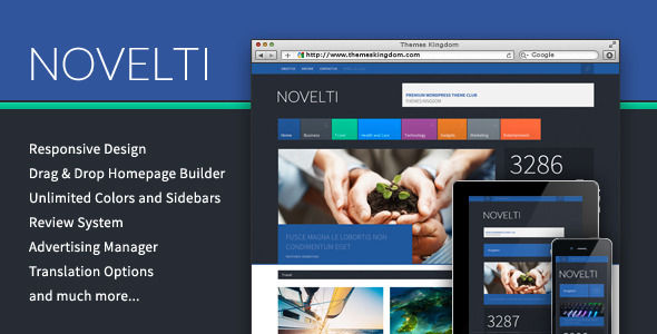 Novelti by Themeskingdom is a news magazine WordPress theme which features one page layouts, fully responsive layouts, Revolution Slider, magazine style layouts and bold design elements.