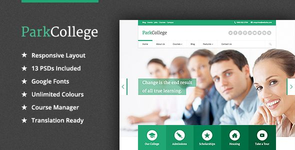 ParkCollege by Quitenicestuff is a WordPress theme for colleges and universities which features one page layouts, fully responsive layouts, search engine optimization, Google Fonts support, clean design and has a portfolio layout option.