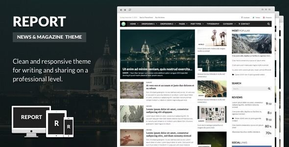Report by Equiet is a news magazine WordPress theme which features Retina display support, support for RTL languages, fully responsive layouts, search engine optimization, Google Fonts support, Revolution Slider, support for photo galleries, magazine style layouts, flat design aesthetics and minimal design.