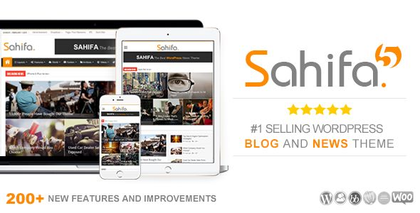 Sahifa by TieLabs is a news magazine WordPress theme which features Retina display support, parallax elements, support for RTL languages, Mega Menu, fully responsive layouts, search engine optimization, Google Fonts support, Revolution Slider, WooCommerce integration, clean design, magazine style layouts, flat design aesthetics, masonry post layouts and a grid layout.