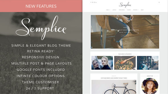 Semplice by Sculpture Qode is a great new WordPress theme which features Retina display support, support for RTL languages, fully responsive layouts, Google Fonts support, clean design, support for photo galleries, is great for your personal site and blogging related layouts and optimizations.