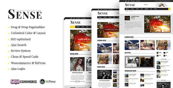 Sense by Bkninja is a news magazine WordPress theme which features parallax elements, support for RTL languages, Mega Menu, one page layouts, fully responsive layouts, search engine optimization, Google Fonts support, Revolution Slider, WooCommerce integration, clean design, Bootstrap framework utilization, support for photo galleries, magazine style layouts, masonry post layouts and a grid layout.