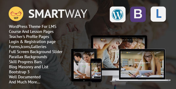 Smartway by BootExperts is a educational WordPress theme which features parallax elements, fully responsive layouts, Bootstrap framework utilization and masonry post layouts.