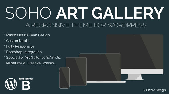 Soho Art Gallery by Chicle Design is a great new WordPress theme which features fully responsive layouts, clean design, Bootstrap framework utilization, support for photo galleries, can be used for your portfolio and minimal design.