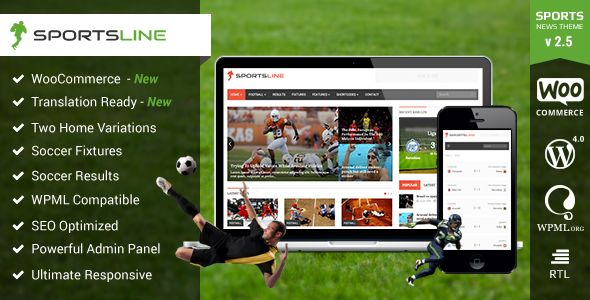 Sportsline by Themeum is a news magazine WordPress theme which features support for RTL languages, fully responsive layouts, search engine optimization, Google Fonts support, WooCommerce integration, Bootstrap framework utilization and magazine style layouts.