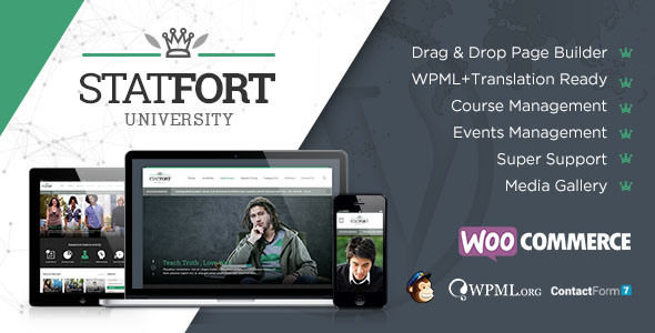 Statfort by Chimpstudio is a WordPress theme for colleges and universities which features support for RTL languages, fully responsive layouts, search engine optimization, Revolution Slider, WooCommerce integration, clean design, Bootstrap framework utilization, magazine style layouts and corporate style visuals.