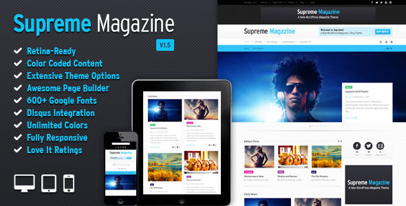 Supreme by SwiftIdeas is a news magazine WordPress theme which features Retina display support, support for RTL languages, fully responsive layouts, search engine optimization, Google Fonts support, Revolution Slider, WooCommerce integration, clean design, can be used for your portfolio, magazine style layouts and a grid layout.