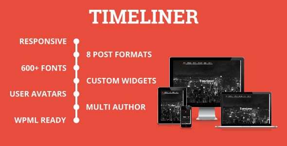 Timeliner by DJMiMi is a news magazine WordPress theme which features support for RTL languages, one page layouts, fully responsive layouts, Google Fonts support, clean design, blogging related layouts and optimizations and flat design aesthetics.