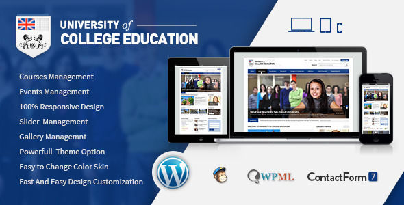 University by Chimpstudio is a WordPress theme for colleges and universities which features fully responsive layouts, search engine optimization and Bootstrap framework utilization.