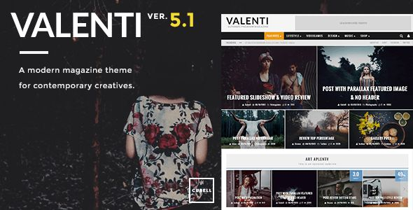 Valenti by Cubell is a news magazine WordPress theme which features Retina display support, parallax elements, support for RTL languages, Mega Menu, fully responsive layouts, search engine optimization, Google Fonts support, Revolution Slider, WooCommerce integration, clean design, magazine style layouts and a grid layout.