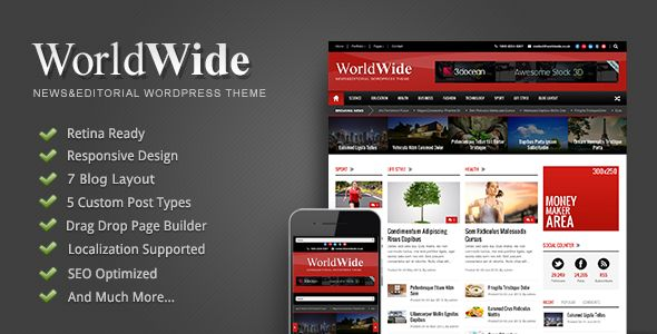 World Wide by GoodLayers is a news magazine WordPress theme which features Retina display support, fully responsive layouts, search engine optimization, Google Fonts support, Revolution Slider, WooCommerce integration, clean design, support for photo galleries, can be used for your portfolio, magazine style layouts, corporate style visuals, a grid layout and minimal design.