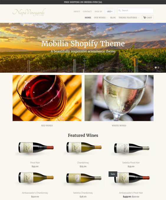 mobilia food drink shopify themes