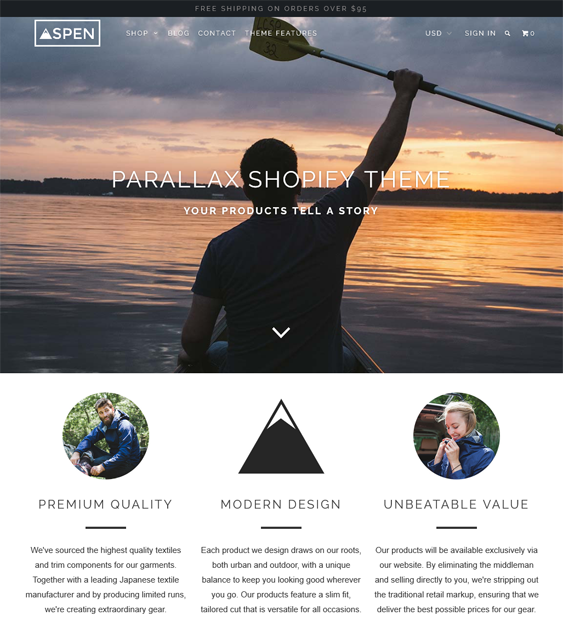 parallax clean shopify themes