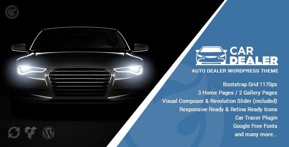 Car Dealer by CMS-Theme is a WordPress theme for automotive websites which features parallax elements, support for RTL languages, fully responsive layouts, search engine optimization, Revolution Slider, clean design and Bootstrap framework utilization.