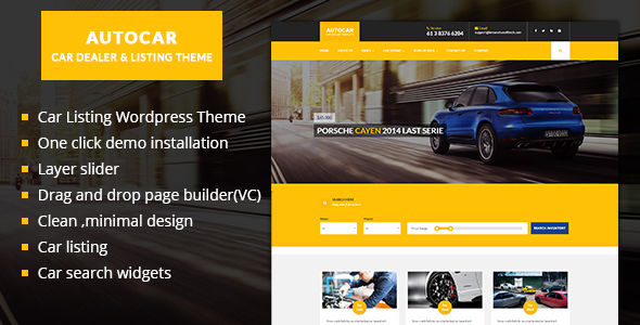 Car Dealer WordPress Theme by Kamleshyadav is a WordPress theme for automotive websites which features one page layouts, fully responsive layouts, Google Fonts support, Revolution Slider, WooCommerce integration, Bootstrap framework utilization and a grid layout.