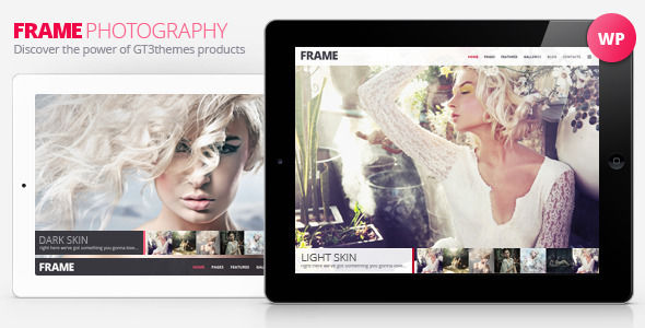 Frame Photography Minimalistic WP Theme by GT3themes (WordPress theme)