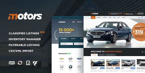 Motors by StylemixThemes is a WordPress theme for automotive websites which features support for RTL languages, fully responsive layouts, search engine optimization, Google Fonts support, Revolution Slider, WooCommerce integration, clean design, Bootstrap framework utilization and can be used for your portfolio.