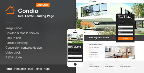 Condio by ThemeStarz (landing page template for Unbounce.com)
