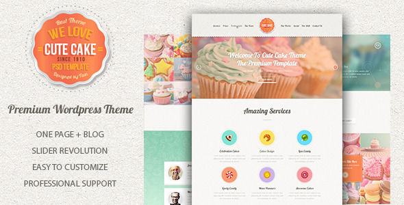 Cute Cake by HighThemes (WordPress theme for bakeries, cafes and food retail stores)