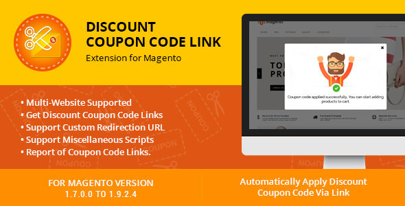 Discount Coupon Code Link Extension For Magento by Themezaa (Magento extension)