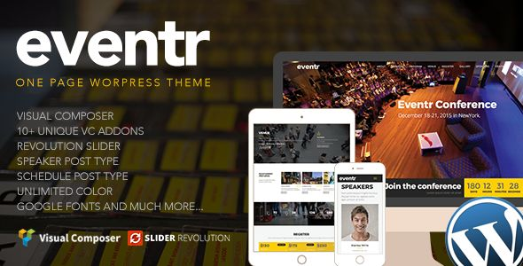 Eventr by Themecube (event & conference WordPress theme)