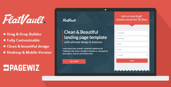 Flat Vault by Demustang (landing page template for PageWiz)