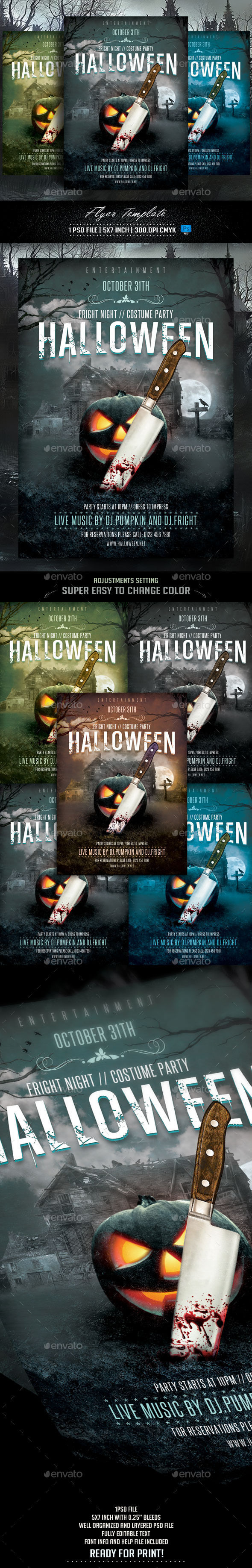 Halloween Flyer Template by Briell (Halloween party flyer)