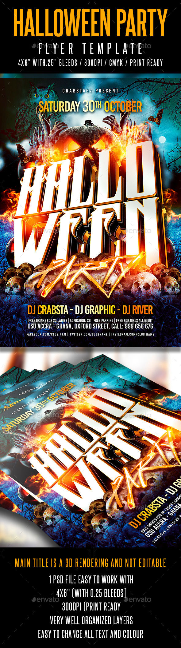 Halloween Party Flyer Template by Crabsta52 (Halloween party flyer)