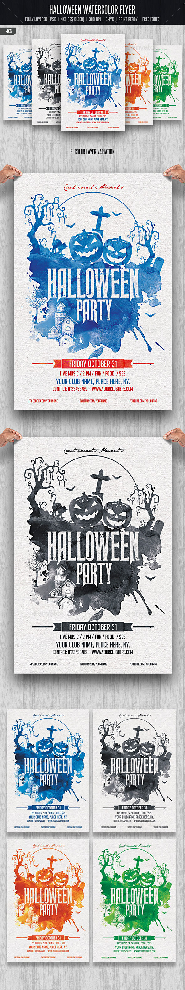 Halloween Watercolor Flyer by Creativeartx (Halloween party flyer)