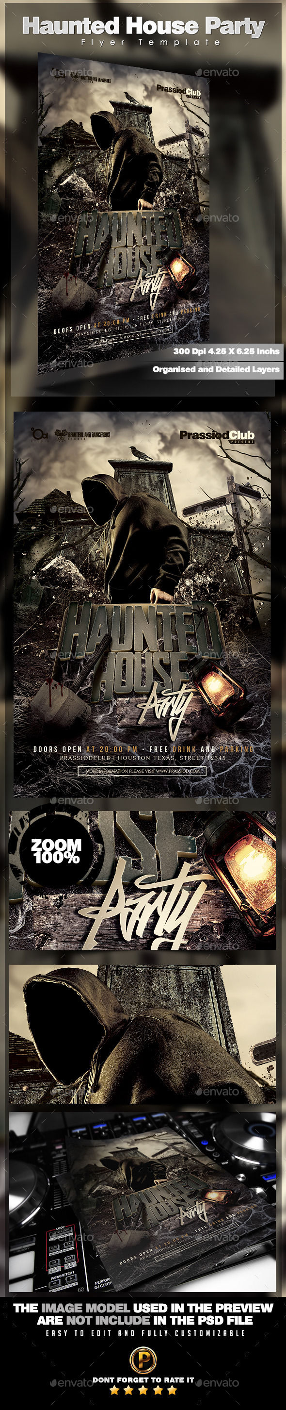 Haunted House Party Flyer Template by Prassiod (Halloween party flyer)