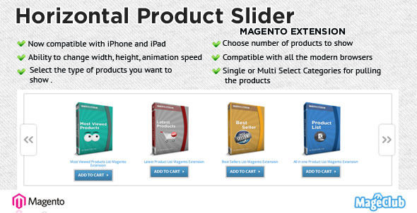 Horizontal Product Slider Magento Extension by QUBESYS (Magento extension)