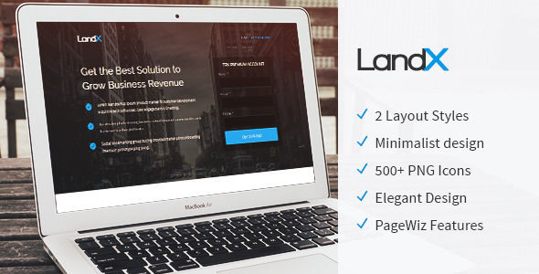 LandX by TemplateOcean (landing page template for PageWiz)
