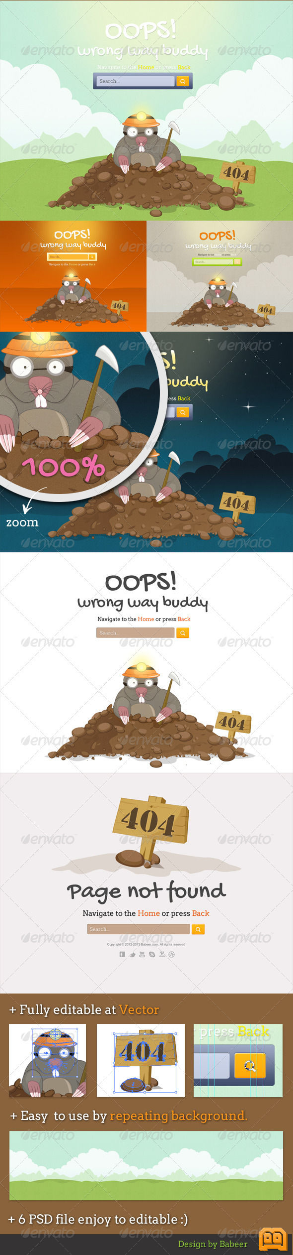 Mole Error Pages by AddtoFavorites (layered 404 page template)