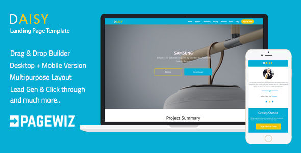 Pagewiz One-Page Template by Ilmosys (landing page template for PageWiz)