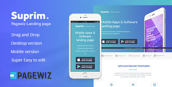 Suprim Mobile App Landing Page For Pagewiz by Twisted-d (landing page template for PageWiz)