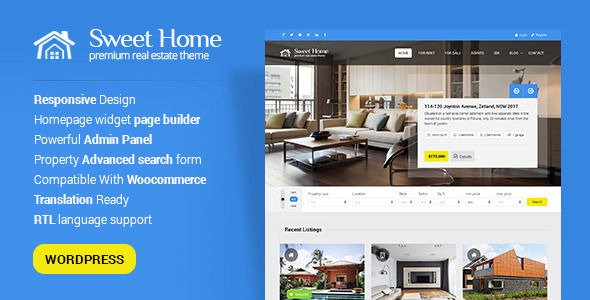 Sweethome by PremiumLayers (real estate and realtor WordPress theme)