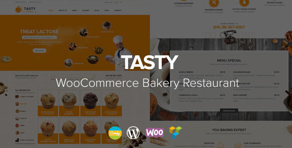 Tasty by Comfythemes (WordPress theme for bakeries, cafes and food retail stores)