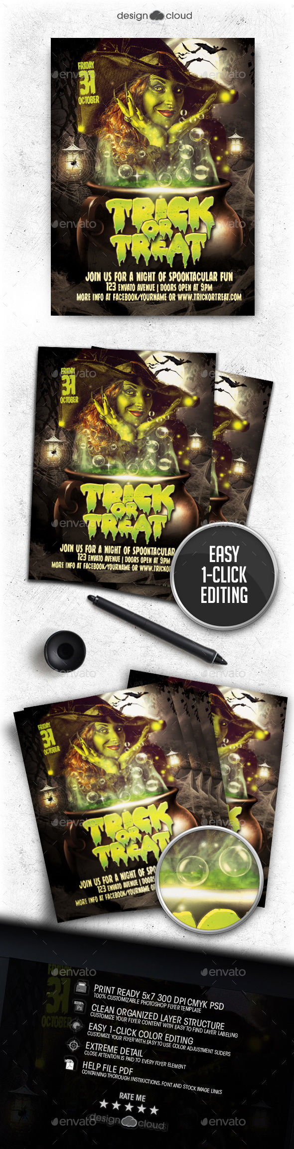 Trick Or Treat Halloween Flyer Template by Design-Cloud (Halloween party flyer)