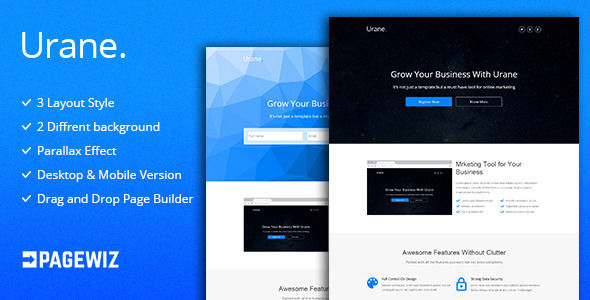 Urane by GBJsolution (landing page template for PageWiz)