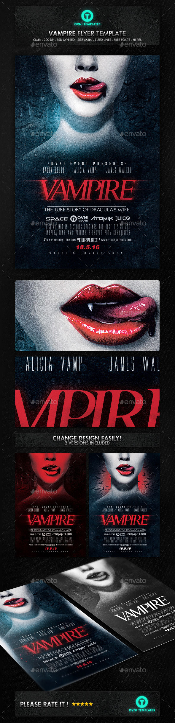 Vampire Night Flyer Poster Movie Template by OVNI-TEMPLATES (Halloween party flyer)