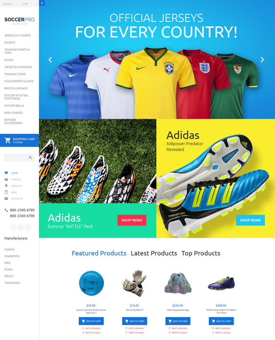 soccer clothing shoes accessories virtuemart themes
