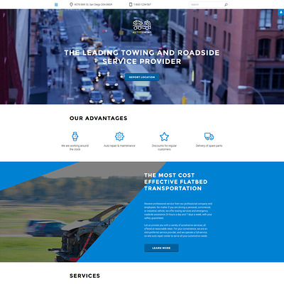 Auto Towing Responsive Joomla Template (Joomla template for car, vehicle, and automotive websites) Item Picture