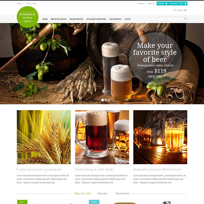 Brewery Responsive PrestaShop Theme (PrestaShop theme for liquor, alcohol, beer, and wine stores) Item Picture